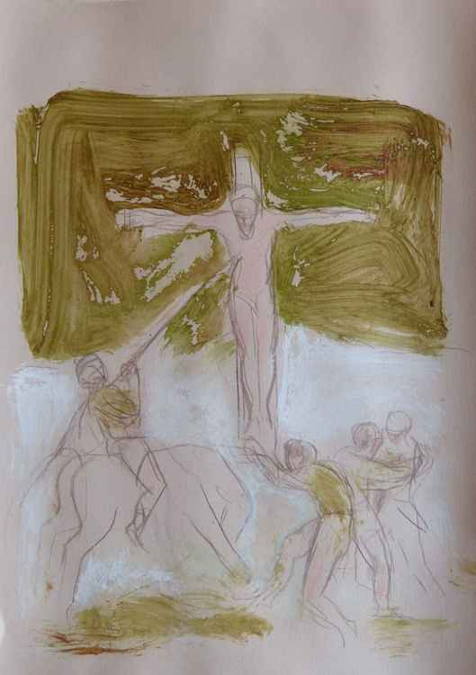 Crucifixion 2, ink and pencil drawing 29x42 cm -