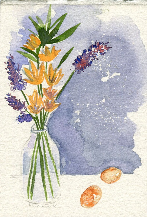 Original Framed Watercolour Painting of Lavender and Eggs - Image 0