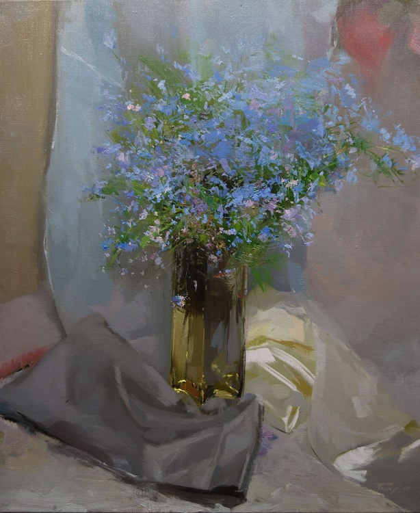 """Large Flower Painting,  """" Blues Things"""" (118sl15) - Image 0"""