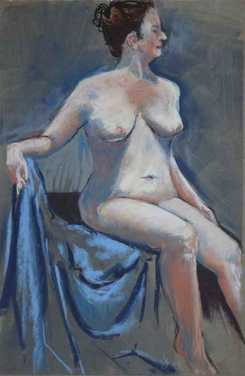 Seated Nude under Stage Lighting