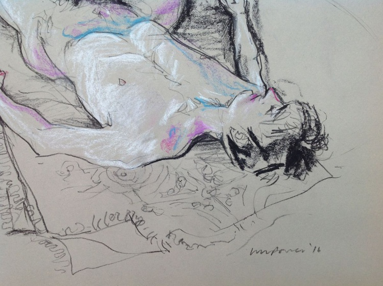 Male nude lying down, A2 soft pastel life drawing #14 - Image 0