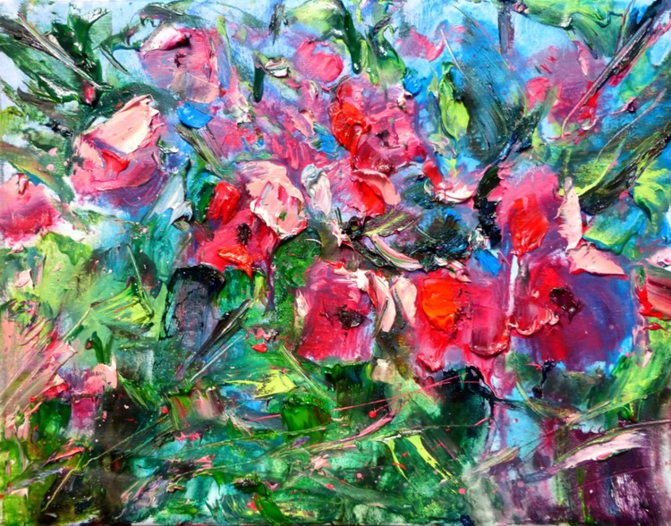 Red Flowers, oil painting 50x40 cm - Image 0