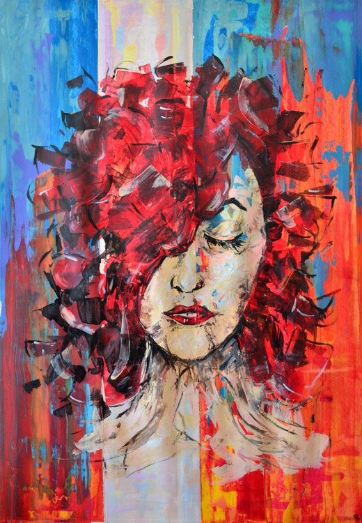 Red Hair - Acrylic Abstract Art Painting On A1 Big Size Paper - Image 0