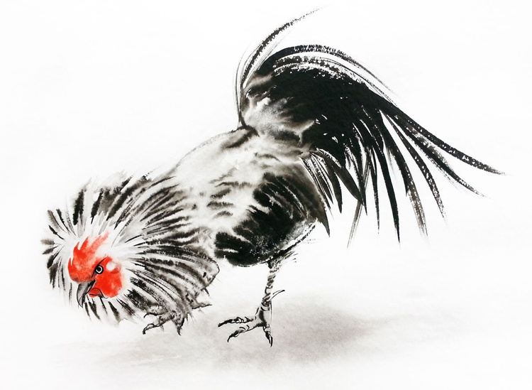 Cockerel - Rooster Year - 2017 Chinese New Year of the Rooster – Watercolor – Ink -  Rooster Chinese Painting - Image 0