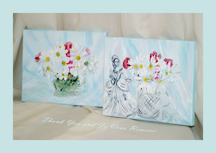 Thank You and Je Vous Remerci. 2  acrylic paintings - Image 0
