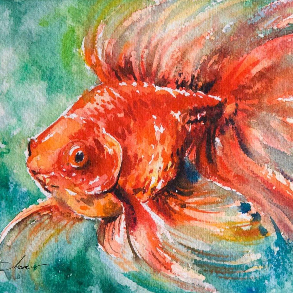 Golf fish. Set of 3 pictures ! by Eve Mazur | Artfinder