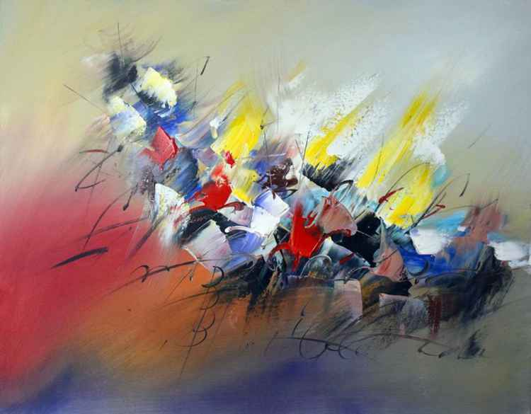 Candid Memories - Abstract Acrylic Art Painting - 28x35 inch, 2015 [Discounted Sale] -