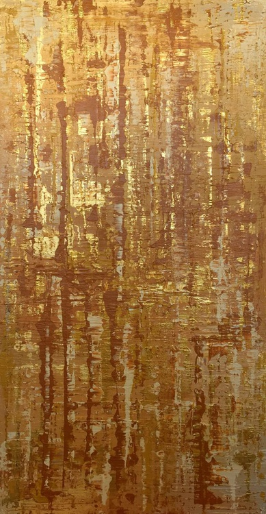 """Gold Water, Abstract Yellow, Rust, Gold, Brown, Large Original Textured Art 48 x 24"""" by Irena Orlov - Image 0"""