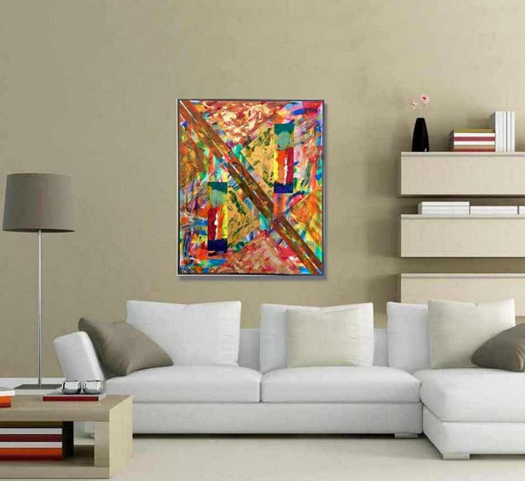 "Geometric Abstract Painting. 24X20"" (60X50cm) Title: Metallica - Image 0"