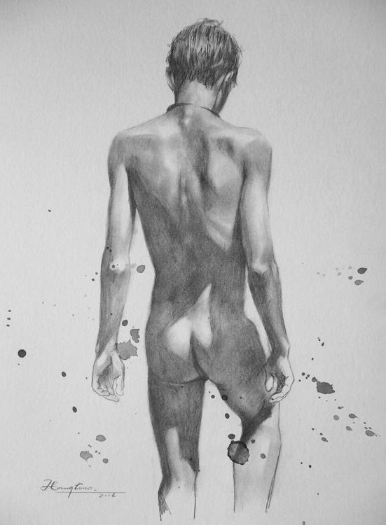 original art drawing pencil boy nude on paper #16-9-10 - Image 0