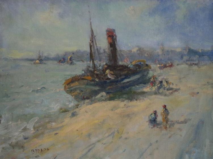 Harbor,  Seascape Original oil Painting, Antique Style, Handmade art, Impressionism, Tonalism, One of a Kind - Image 0