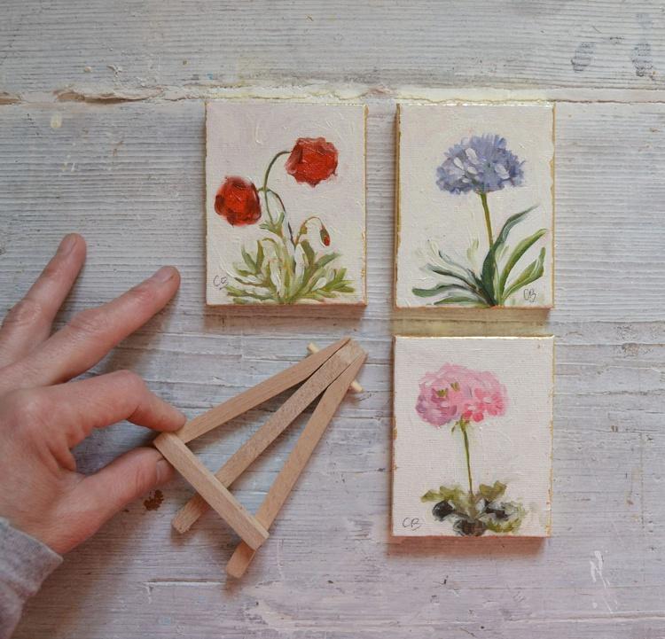 Set of 3 Mini Botanical Flower Oil Paintings - Image 0