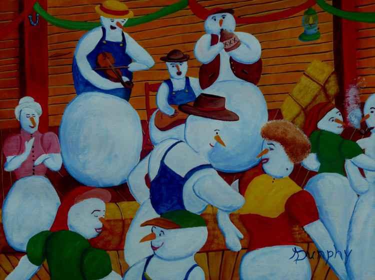 Barn Dancing Snowmen -