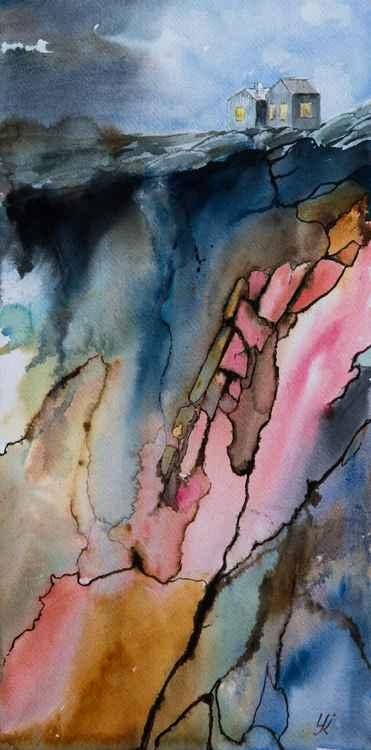 """Spirit of mountain"", original watercolour painting, 10""x20""(25x50cm)"