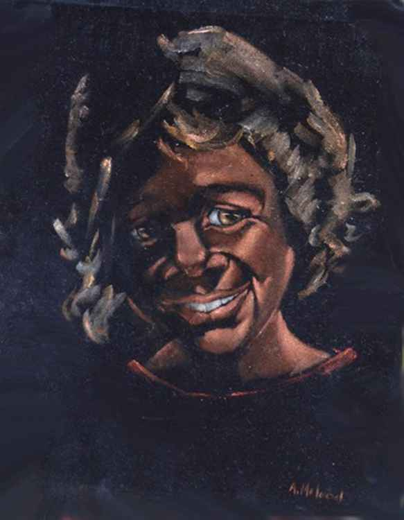 Aboriginal  portrait on velvet