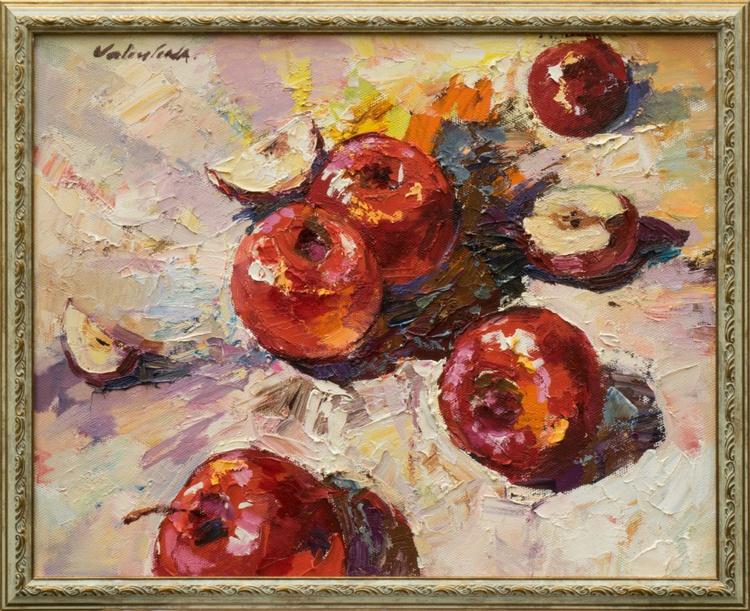 Red apples Still Life Oil painting Framed - Image 0