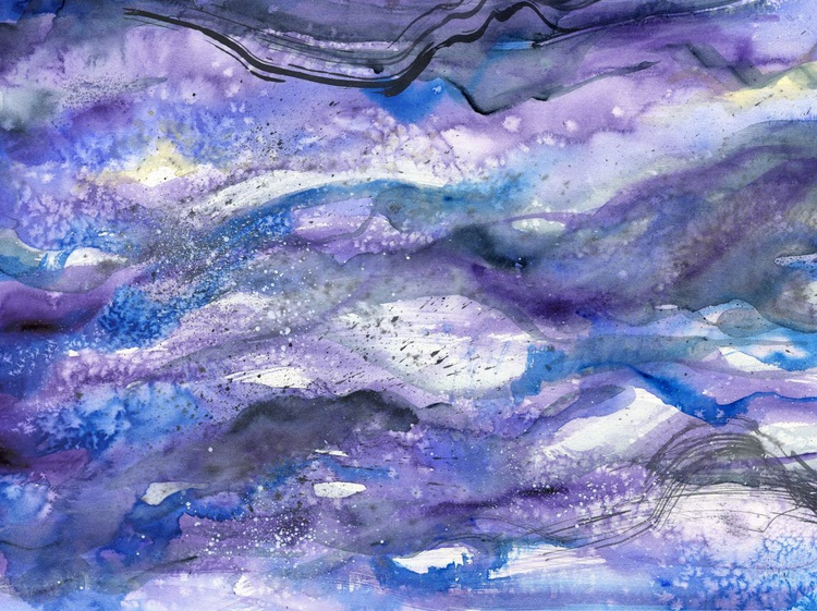 Original Watercolour Painting of Sea Abstract Purple Underworld - Image 0
