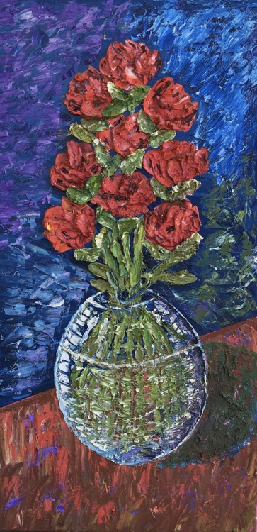 Rosey Day in a Clear Round Vase - Image 0