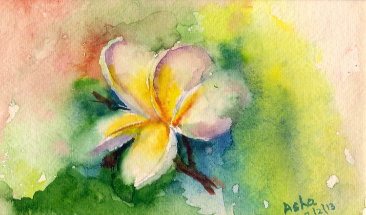 "Frangipani flower 7.25""x 4.25"" - Image 0"