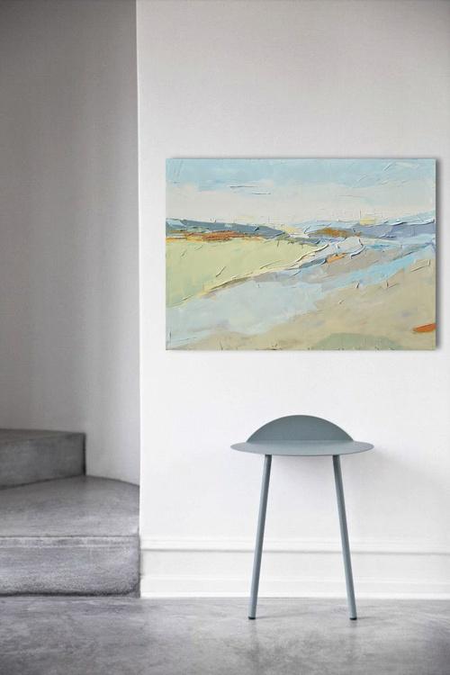 """""""Landscape XIV"""". 100% Oil painting on cotton canvas. Unique impasto texture. 100/70cm, 39.4/ 27.6 inches. - Image 0"""