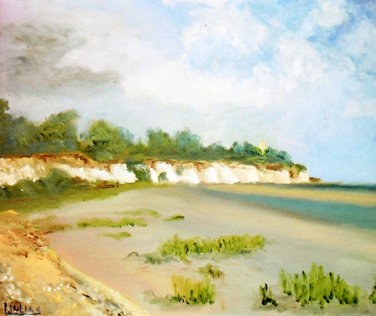 Pegwell Bay near Ramsgate. The place where St Augustine landed, in East Kent. Oil Painting! - Image 0