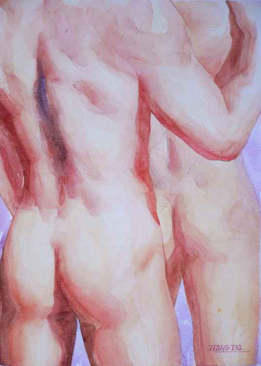 original art watercolour painting male nude gay men on paper #16-5-11-08 -