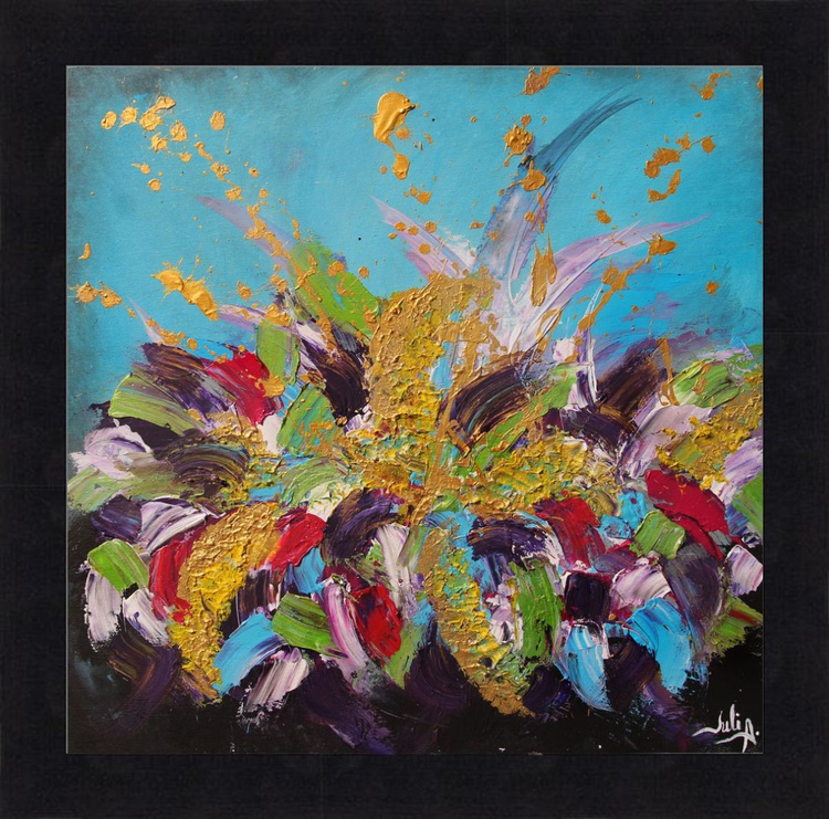 Floral Abstract Art, Framed Painting, Contemporary Art, Acrylic on Canvas, Black Frame, Turquoise, Purple, Gold, Palette Knife, Modern Home Decor, Splash Art - Image 0