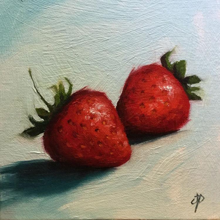 Strawberries On blue - Image 0