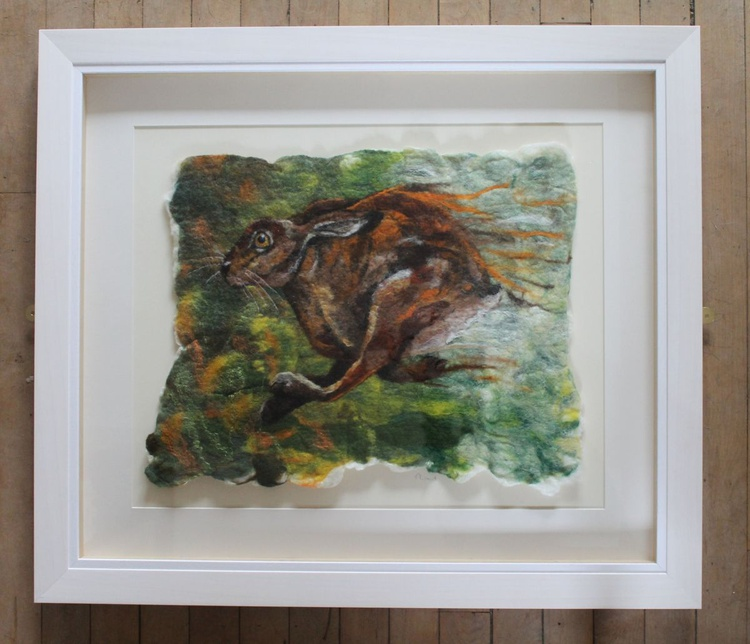 Run Like The Wind, wool painting - framed felted picture of a hare - Image 0