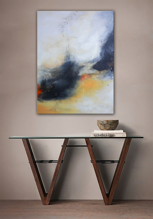 Inner spirit - abstract painting yellow , black and gray - Image 0
