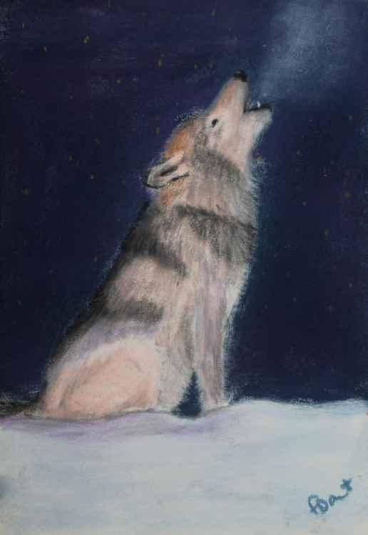A Breath of Fresh Air, wolf postcard art -