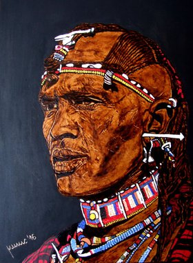 Masai man by Millis Pyrography