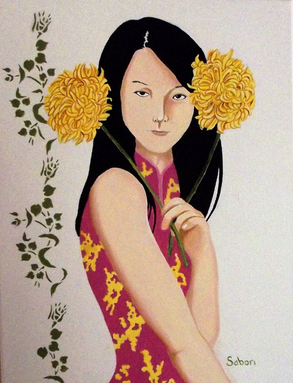 Girl with Flowers - Image 0