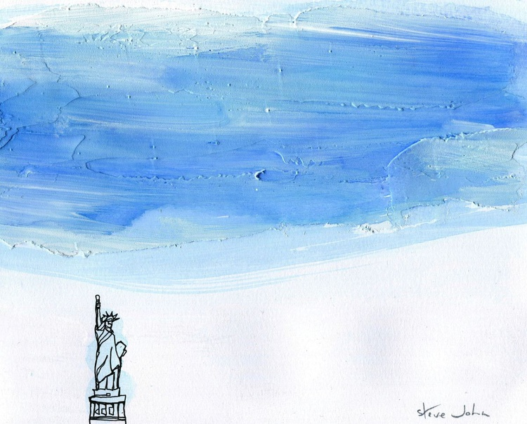 Statue of Liberty, Continuous Line drawing, sculptural sky - Image 0