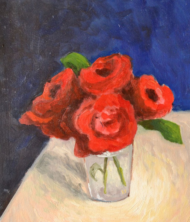 Four Little Red Roses in a Glass Still Life Flower Oil Painting - Image 0