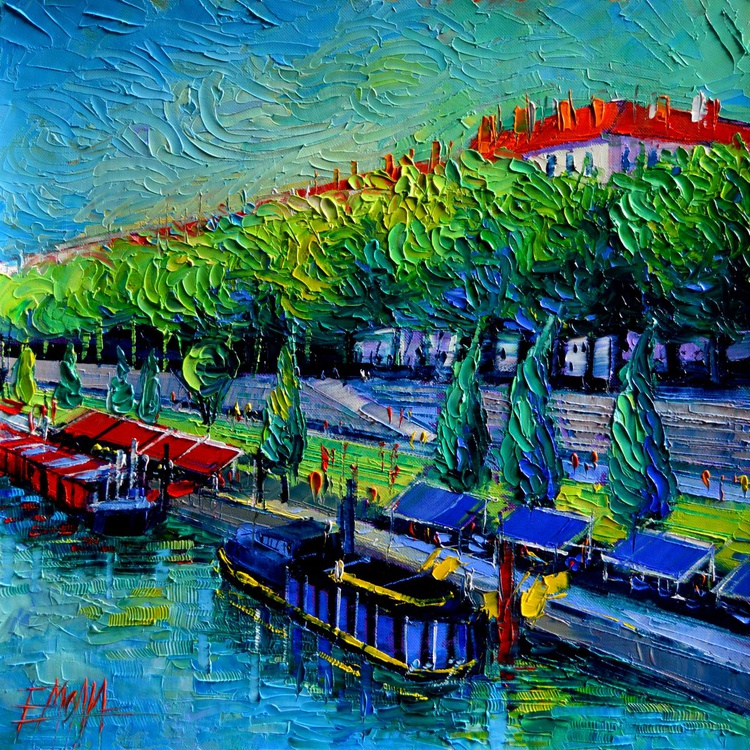 Festive Barges On The Rhone River - Image 0