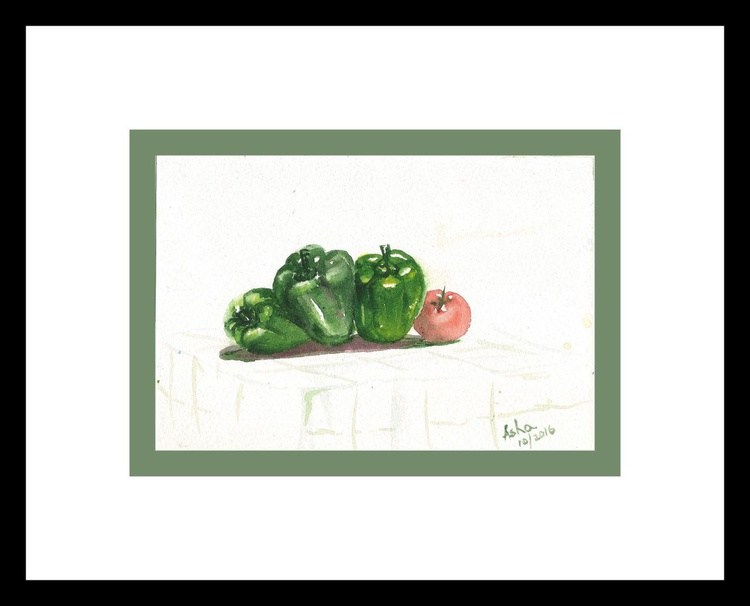 "Still life with capsicums and a tomato 8.5""x 5.75"" - Image 0"