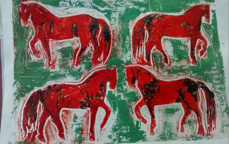 Horses in Red -