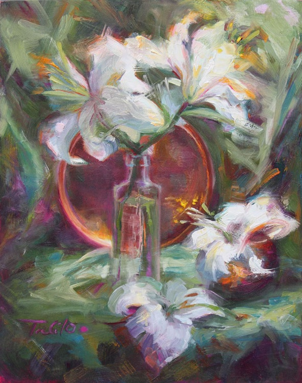 Be Still - still life with Casablanca lilies and copper - Image 0