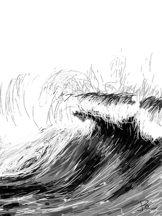 Wave 7 - Drawing - Small -