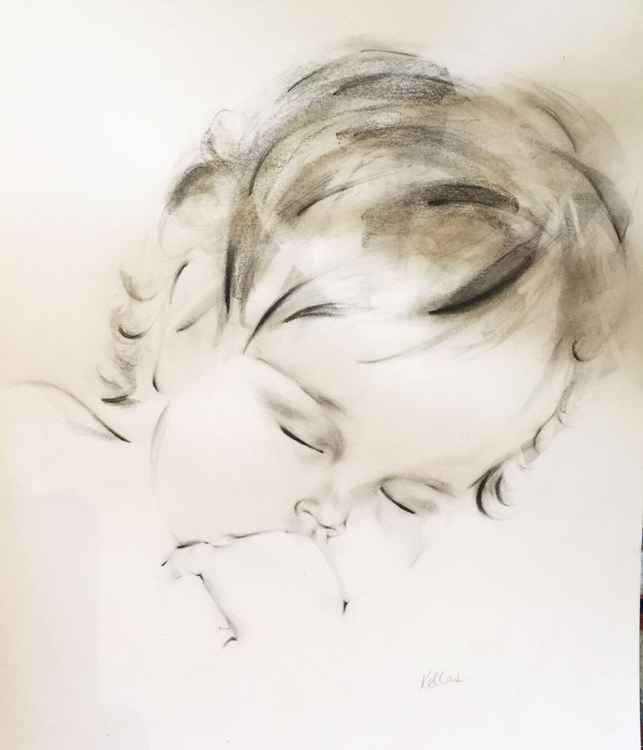 Charcoal and Ink Drawing of Sleeping Girl
