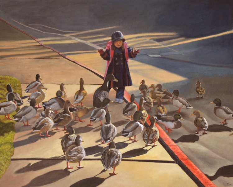 Amelie-An and her ducks - Andrew Wyeth inspired - child with ducks - Image 0
