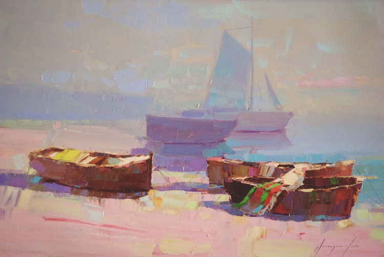 Boats on the Shore Original oil painting  Handmade artwork One of a kind Signed with Certificate of Authenticity - Image 0