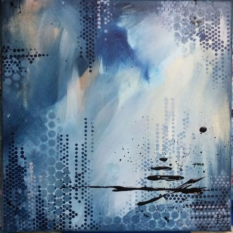 """Sultry Blue // Abstract Painting // 12x12"""" Canvas - Image 0"""