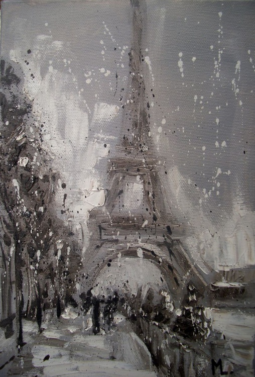 """"""" PARIS IN THE SNOW """" original painting heavily textured - Image 0"""