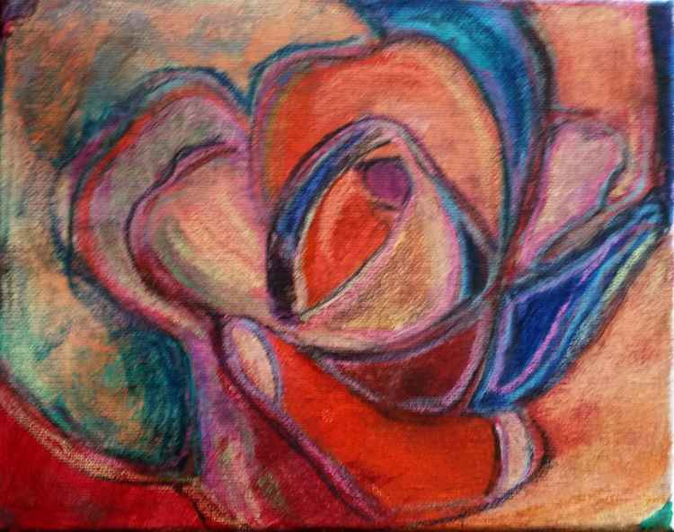 Pastel and acrylic colorful rose -