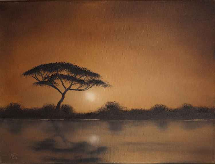 Waterhole Sunset - African landscape 2 -