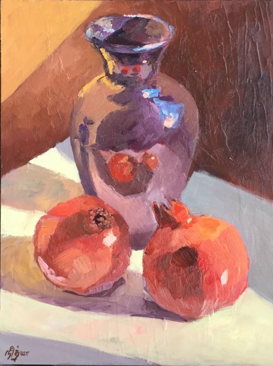 FRAMED Kitchen Still Life - Pomegranates and Vase under Sunlight - Image 0
