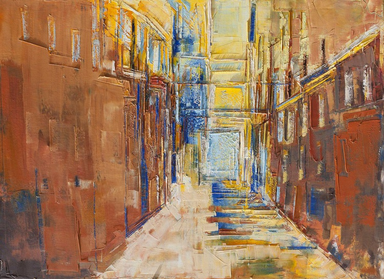 "Abstract painting ""City Q"".100% authentic, oil painting on canvas. Unique impasto texture.39.37/27.5(100/70cm). - Image 0"