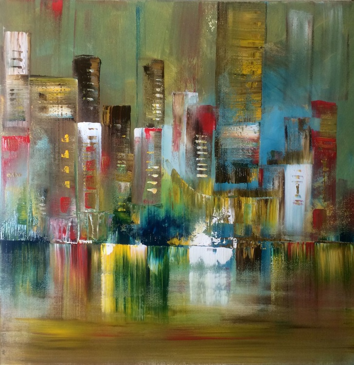"""Night Life"" / Acrylic Painting 32x32x1.6"" - Image 0"